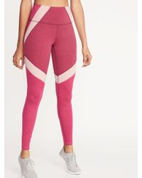 332ba25865 Lyst - Old Navy High-rise Printed Elevate Compression Leggings in Pink