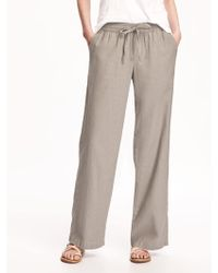 840442d60e Old Navy Mid-rise Linen-blend Cropped Pants in Blue - Lyst