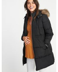Old Navy - Maternity Long-line Hooded Frost-free Puffer Jacket - Lyst