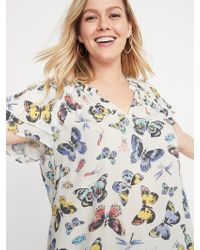 0e772c04b56 Old Navy - Butterfly-print Tiered-sleeve Plus-size Blouse - Lyst