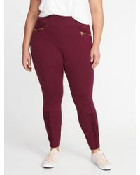 Old Navy - High-rise Sueded-trim Plus-size Stevie Pants - Lyst