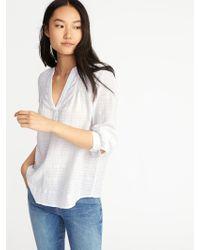 Old Navy - Relaxed Dobby-windowpane Popover Shirt - Lyst