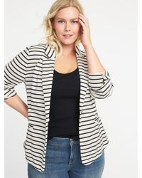 Old Navy - Plus-size Striped Ponte-knit Blazer - Lyst