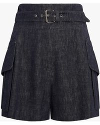Derek Lam - Belted Short With Patch Pockets - Lyst