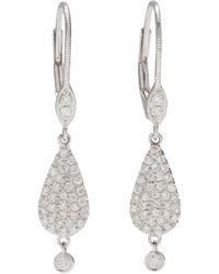 Meira T - White Gold Pavé Teardrop Earrings - Lyst