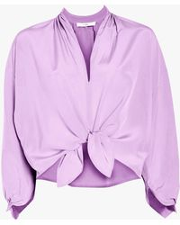 TOME - Knotted Peasant Blouse - Lyst