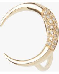 Jacquie Aiche - Partial Pavé Crescent Horn Ring - Lyst
