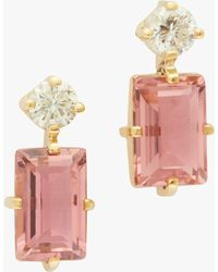 Yi Collection - Pink Tourmaline And Diamond Deco Earrings - Lyst