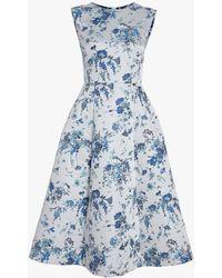 Adam Lippes - Floral Silk Jacquard Dress - Lyst