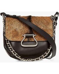 Roberto Cavalli - Goat Hair Leather Shoulder Bag - Lyst