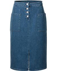 49a5db4f69 Oliver Bonas - Denim Blue Pencil Midi Skirt - Lyst