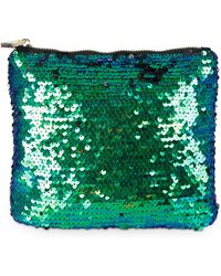 Oliver Bonas - Beetle Midi Green Sequin Pouch - Lyst