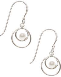 Oliver Bonas - Silver Pearl Spiral Earrings - Lyst