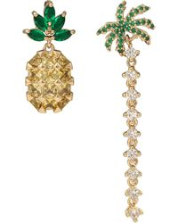 Oliver Bonas - Tropical Pineapple & Palm Tree Mismatched Drop Earrings - Lyst