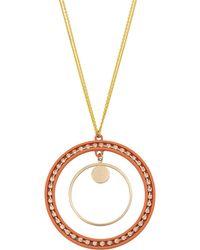 Oliver Bonas - Navigate Double Circle Orange Pendant Necklace - Lyst