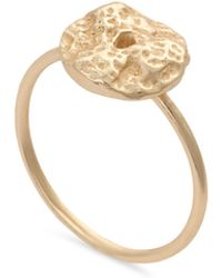 Oliver Bonas - Ciolli Textured Coin Gold Plated Ring - Lyst