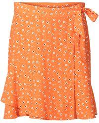7e67d7069d Oliver Bonas - Ditsy Orange Tie Front Mini Skirt - Lyst