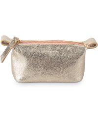 Oliver Bonas - Zoya Slouch Gold Leather Make Up Bag Mini - Lyst