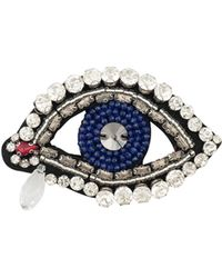 Oliver Bonas - Occhio Jewelled Eye & Teardrop Embroidered Brooch - Lyst