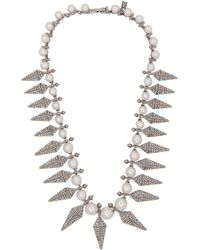 Kenneth Jay Lane - Silver & Crystal Spike Necklace - Lyst