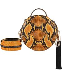 Amanda Wakeley - Ochre Python Round Ross Handbag - Lyst