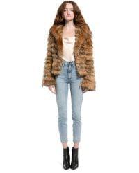 Alice + Olivia Nadia Hooded Fur Coat - Natural