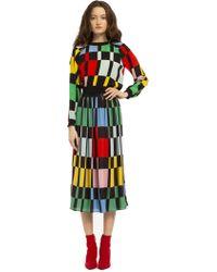 Alice + Olivia - Melda Color Block Midi Skirt - Lyst