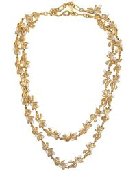 Kenneth Jay Lane - Gold & Pearl Flower Necklace - Lyst