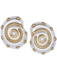 Kenneth Jay Lane - White Pearl With Gold Dots And Pearl Center Snail Clip Earrings - Lyst