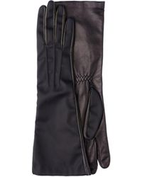 Prada - Long Nylon And Leather Gloves - Lyst