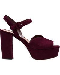 fb57bda5848f Lyst - Prada Suede Platform Sandals in Purple