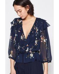 e45d3881e9002 Lyst - Joie Avonmora Paisley-print Silk Top in Blue
