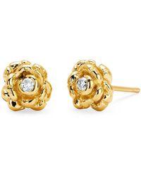 af71735c1 Lyst - Bridget Wheatley Jewellery Rosebud Stud in Metallic