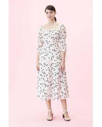 6e28edd6a930f1 Lyst - BCBGMAXAZRIA Alessandra Printed Layered Fitted Dress in Black