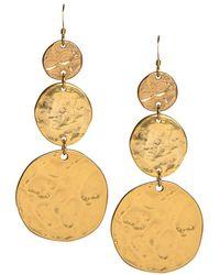 Kenneth Jay Lane - Satin Gold 3 Coin Drop Fishhook Pierced Earrings - Lyst