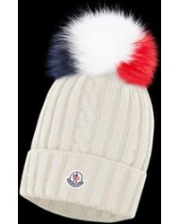 Lyst - Moncler Ribbed Knit Hat in Natural 37c9541ba9bf
