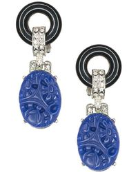 Kenneth Jay Lane - Black And Lapis Art Deco Pierced Or Clip Earrings - Lyst