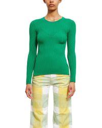 Rib Knit Sweater Green