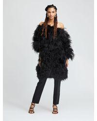 a27fea98116 Oscar de la Renta Black Shadow Fox And Feather Swirl Wrap Coat