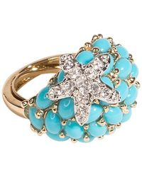 Kenneth Jay Lane - Turquoise And Crystal Starfish Ring - Lyst