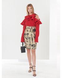 Oscar de la Renta - Rustic Flower Harvest Jacquard Skirt - Lyst