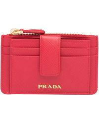 d0ecab7b60cc Lyst - Prada Saffiano Leather Credit Card Holder in Red