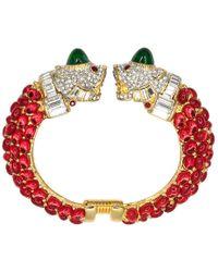 Kenneth Jay Lane - Ruby Double Lion Head Bracelet - Lyst