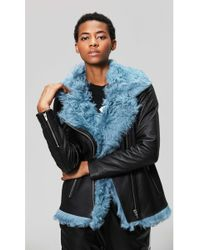 VEDA - Denver Shearling Jacket Teal - Lyst
