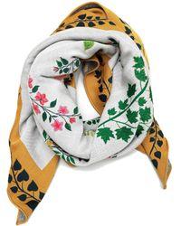 Oscar de la Renta Botanical Branches Wool-blend Scarf - Multicolor