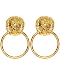 Kenneth Jay Lane - Lion Head Doorknocker Pierced Or Clip Earrings - Lyst