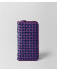 Bottega Veneta - Monalisa/atlantic Intrecciato Checker Zip Around Wallet - Lyst