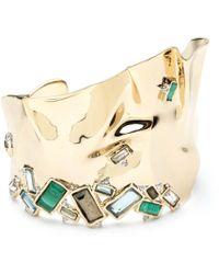 Alexis Bittar - Crumpled Gold Asymmetrical Baguette Stone Cuff Bracelet - Lyst