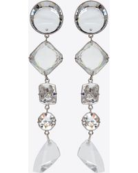 e40fb35d6762 Saint Laurent - Smoking Long Chain Earrings In Silver-toned Brass And White  Crystals -