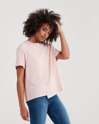7 For All Mankind - Short Sleeve Splice Crop Tee - Lyst